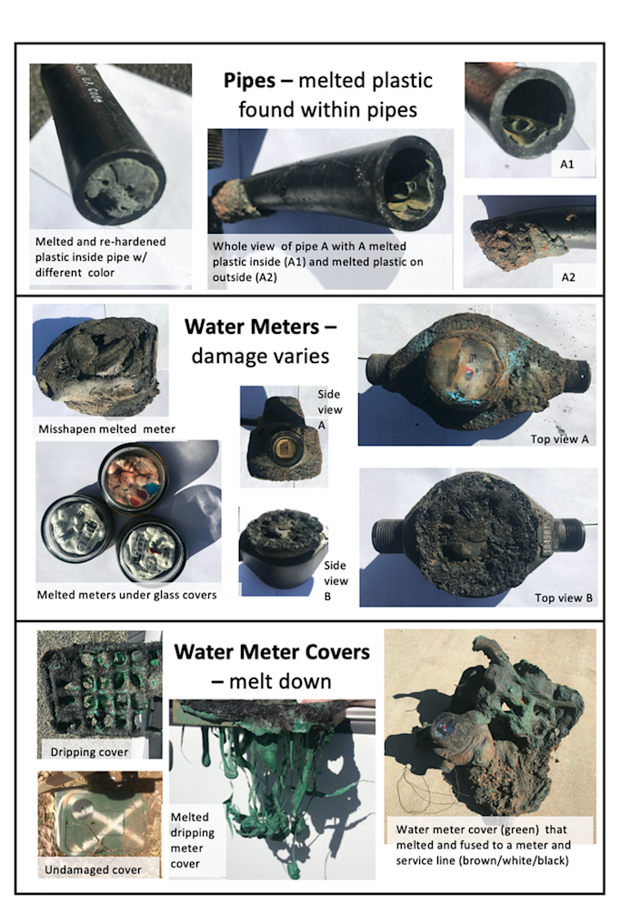 Photos showing examples of fire damage to water systems