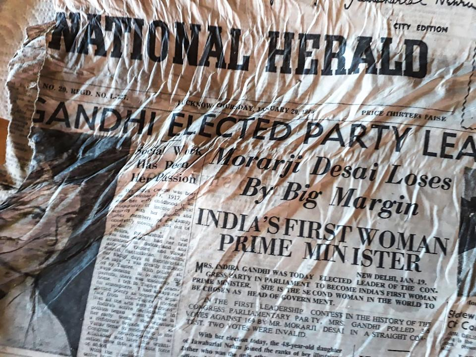 "A picture taken on July 9, 2020, at the Bossons glacier near Chamonix in the French Alps, shows a 1966 copy of Indian newspaper The Herald with a healdline announcing the election of Indira Gandhi, likely to have been on board the Air India Boeing 707 ""Kangchenjunga"" aircraft that crashed in the nearby Mont Blanc massif on January 24, 1966. -"
