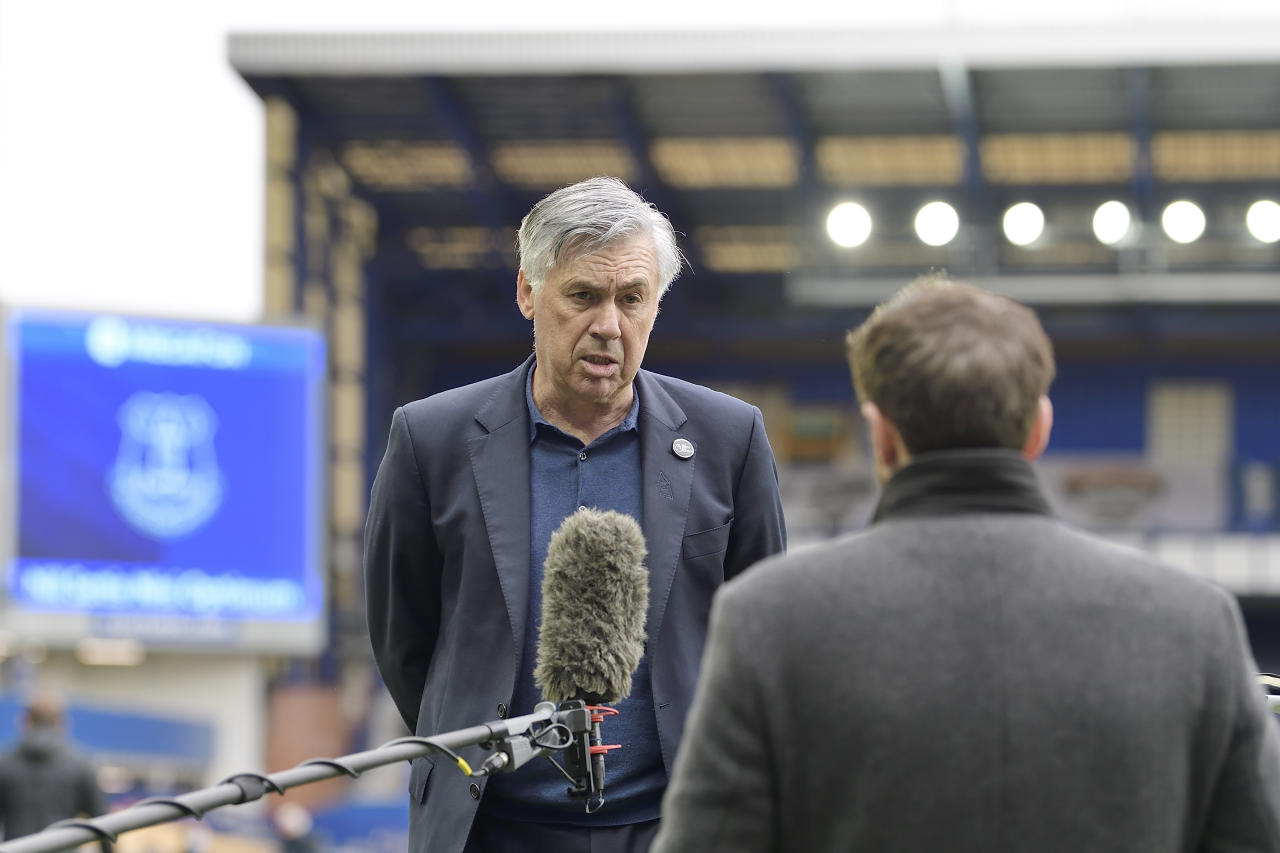 LIVERPOOL, ENGLAND - OCTOBER 17:  Carlo Ancelotti of Everton after the Premier League match between Everton and Liverpool at Goodison Park on October 17 2020 in Liverpool, England. (Photo by Tony McArdle/Everton FC via Getty Images)