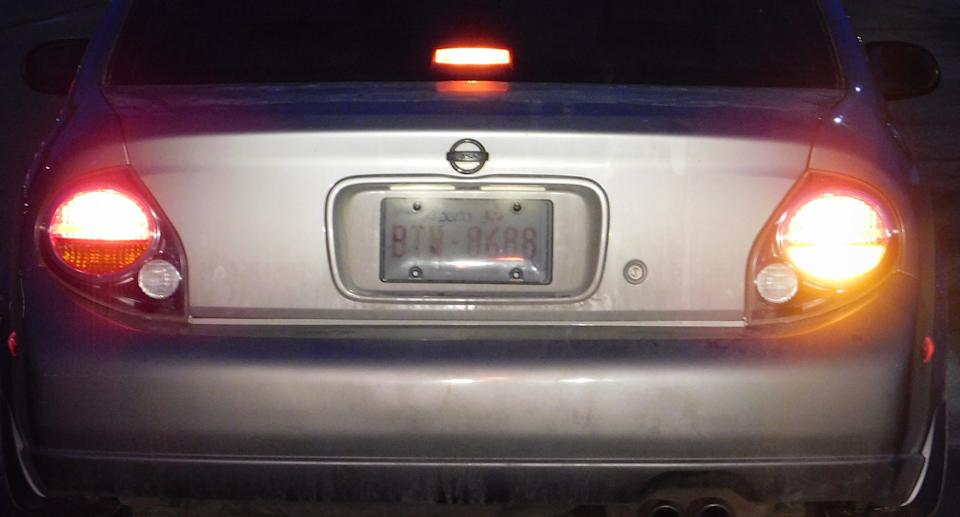 A car is pictured with fake licence plates.