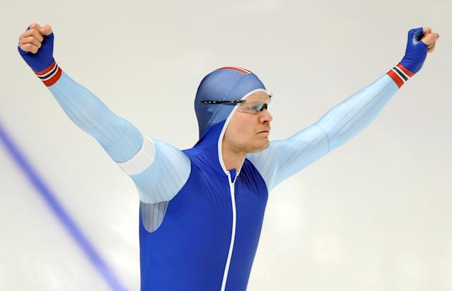 Speed Skating - Pyeongchang 2018 Winter Olympics - Men's 1000m competition finals - Gangneung Oval - Gangneung, South Korea - February 23, 2018 - Havard Lorentzen of Norway reacts after the heat. REUTERS/Lucy Nicholson