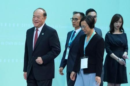 Ho Iat Seng, the candidate for Macau chief executive, attends a meeting in Macau