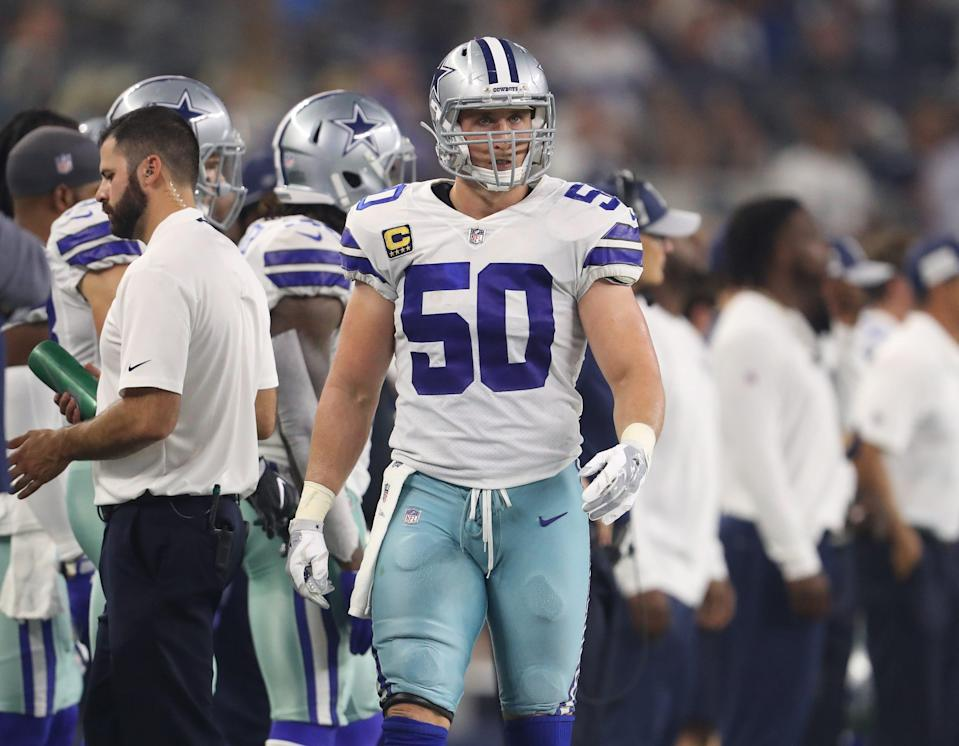 Dallas Cowboys linebacker Sean Lee (50) on the sidelines against the New York Giants at AT&T Stadium.