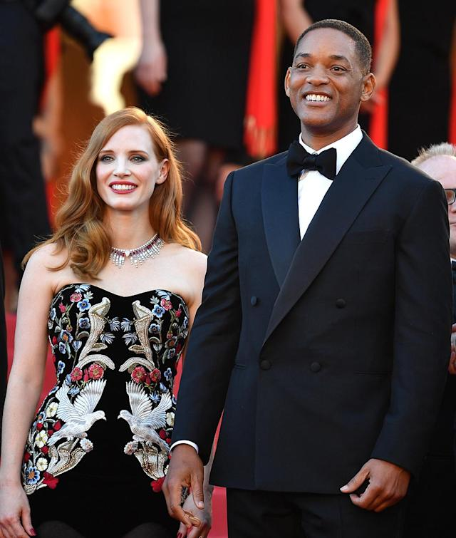 """<p>Jury members Jessica Chastain and Will Smith at the <em>Ismael's Ghosts</em> (<em>Les Fantomes d'Ismael</em>) screening and Opening Gala at the <a href=""""https://www.yahoo.com/movies/tagged/cannes-film-festival"""" data-ylk=""""slk:Cannes Film Festival"""" class=""""link rapid-noclick-resp"""">Cannes Film Festival</a> on May 17, 2017 (Photo: Pascal Le Segretain/Getty Images) </p>"""