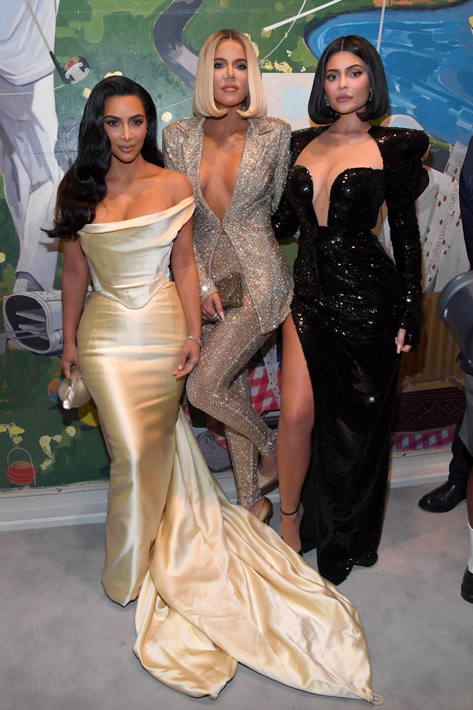 LOS ANGELES, CALIFORNIA - DECEMBER 14: (L-R) Kim Kardashian West, Khloe Kardashian, and Kylie Jenner attend Sean Combs 50th Birthday Bash presented by Ciroc Vodka on December 14, 2019 in Los Angeles, California. (Photo by Kevin Mazur/Getty Images for Sean Combs)