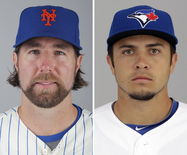 FILE - From left are 2012 file photos showing New York Mets' R.A. Dickey and Toronto Blue Jays' Travis d'Arnaud. A person familiar with the deal tells The Associated Press that Dickey and the Blue Jays have agreed on a new contract, clearing the way for the New York Mets to trade the Cy Young winner to Toronto. The person spoke on condition of anonymity Monday, Dec. 17, 2012, because the trade was not yet complete. The 38-year-old knuckleballer must pass a physical before he joins the Blue Jays. The Mets would get prized catching prospect Travis d'Arnaud as the centerpiece of the multiplayer swap. (AP Photo/File)