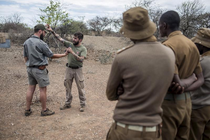 Rangers from South Africa's Kuduland Reserve take part in a joint intense anti-poaching training program with US military veterans