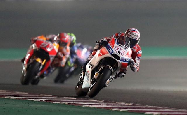 Ducati Team's Italian rider Andrea Dovizioso competes during the 2017 Qatar MotoGP (AFP Photo/Karim JAAFAR)