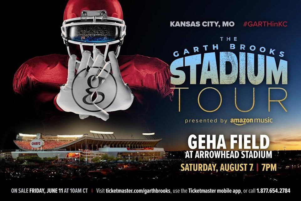 Garth Brooks will return to Kansas City on Aug. 7 to perform in front of what will likely be a record crowd at Arrowhead Stadium.