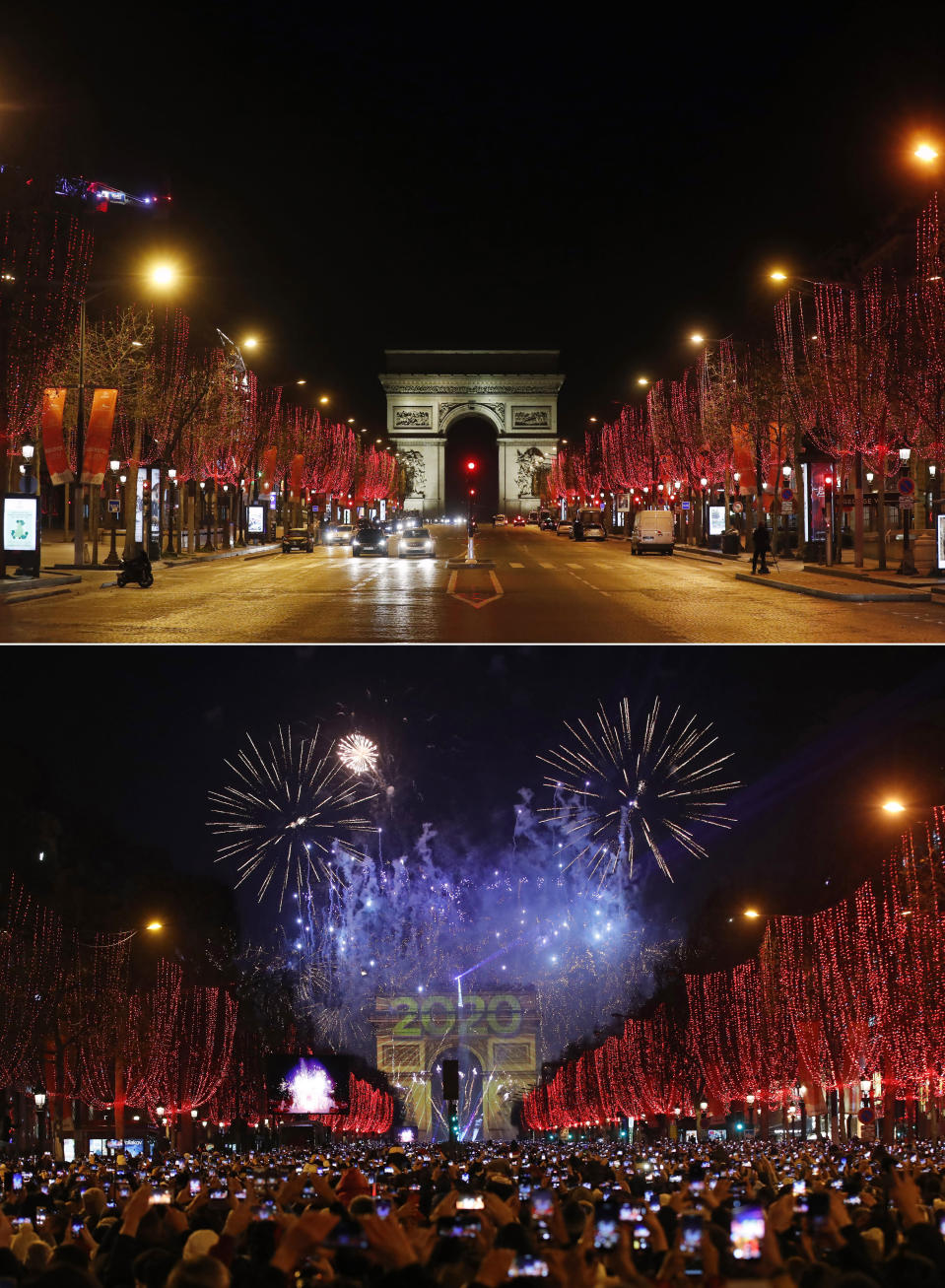 A combo image showing a general view of the Champs Elysees avenue in Paris very early on New Year's Day Friday, Jan. 1, 2021, and the bottom one the same location packed with revelers early on Tuesday, Jan. 1, 2020. As the world says goodbye to 2020, there will be countdowns and live performances, but no massed jubilant crowds in traditional gathering spots like the Champs Elysees in Paris and New York City's Times Square this New Year's Eve. The virus that ruined 2020 has led to cancelations of most fireworks displays and public events in favor of made-for-TV-only moments in party spots like London and Rio de Janeiro. (AP Photo/Thibault Camus, Christophe Ena)