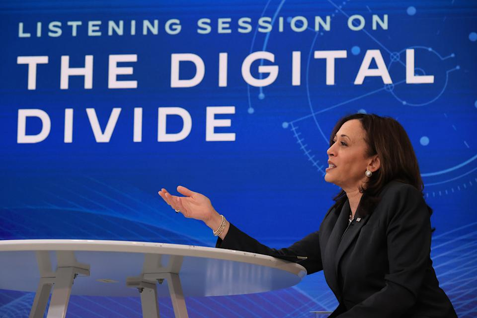 WASHINGTON, DC - MAY 24: U.S. Vice President Kamala Harris hosts a listening session on the country's digital divide in the South Court Auditorium of the Eisenhower Executive Office Building on May 24, 2021 in Washington, DC. In a discussion with students, parents and advocates, Harris drew a parallel between rural electrification projects in the early 20th century and the current efforts to bring affordable, high-speed internet using the Biden administration's American Jobs Plan. (Photo by Chip Somodevilla/Getty Images)