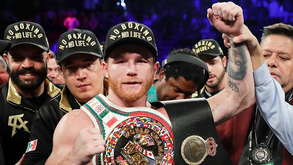 Canelo Alzarez is pictured here celebrating after winning a fight.