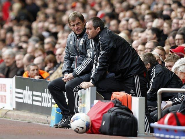 Kenny Dalglish, left, with assistant manager Steve Clarke at Anfield