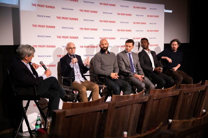 Yahoo News Chief Investigative Correspondent Michael Isikoff moderates the panel discussion with writer Jay Carson, writer Matt Bai, actor Hugh Jackman, actor Mamoudou Athie and director Jason Reitman. (Photo: Chris Farber Productions)