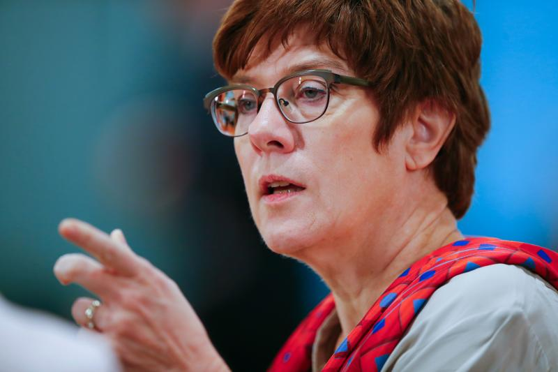 German Defence Minister Annegret Kramp-Karrenbauer attends the weekly cabinet meeting, as the spread of the new coronavirus disease (COVID-19) continues, in Berlin, Germany, May 6, 2020. (Photo by HANNIBAL HANSCHKE / POOL / AFP) (Photo by HANNIBAL HANSCHKE/POOL/AFP via Getty Images)