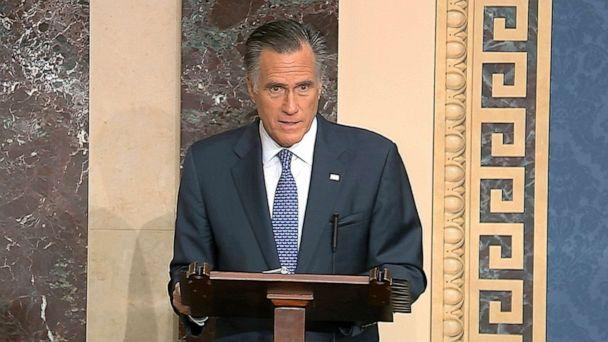 PHOTO: In this image from video, Sen. Mitt Romney speaks on the Senate floor about the impeachment trial against President Donald Trump at the Capitol in Washington, Feb. 5, 2020. Romney announced he will vote to convict Trump of abuse of power. (Senate Television via AP)