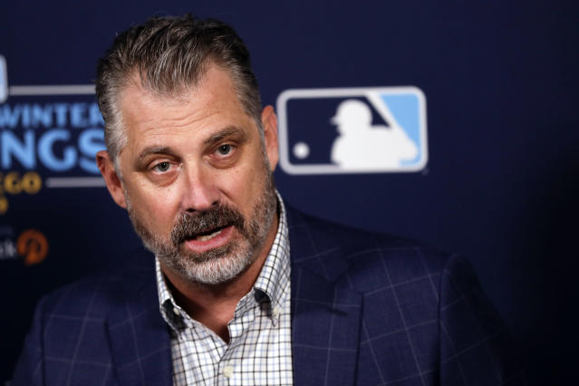 Pittsburgh Pirates manager Derek Shelton speaks during the Major League Baseball winter meetings Wednesday, Dec. 11, 2019, in San Diego. (AP Photo/Gregory Bull)