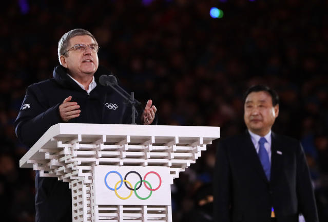 Thomas Bach, president of the International Olympic Committee speaks during the closing ceremony of the 2018 Winter Olympics in Pyeongchang, South Korea, Sunday, Feb. 25, 2018. (AP Photo/Natacha Pisarenko)