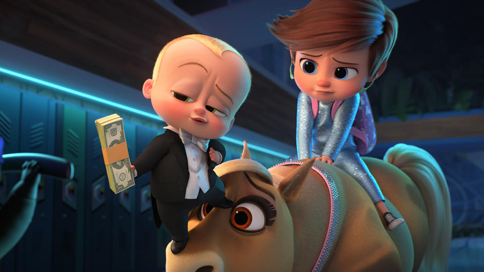 """Alec Baldwin is back in cinema's tiniest suit for this sequel to the delightfully bizarre 2017 animated hit. This time around, he and brother Tim are all grown up, but agree to be regressed in order to carry out a mission with Tim's daughter, who is also a Boss Baby. Keeping up? Whether it makes sense or not, the movie looks set to be a riot. And if that wasn't persuasion enough, <a href=""""https://uk.movies.yahoo.com/boss-baby-2-trailer-161517205.html"""" data-ylk=""""slk:Jeff Goldblum is in it;outcm:mb_qualified_link;_E:mb_qualified_link;ct:story;"""" class=""""link rapid-noclick-resp yahoo-link"""">Jeff Goldblum is in it</a> too. (Credit: DreamWorks/Universal)"""