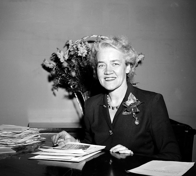 """<a href=""""http://www.senate.gov/artandhistory/history/common/briefing/women_senators.htm""""><strong>Served from:</strong></a> 1949-73 Sen. Margaret Chase Smith (R-Maine) smiles on Jan., 5, 1949 in her Washington office. (AP Photo)"""