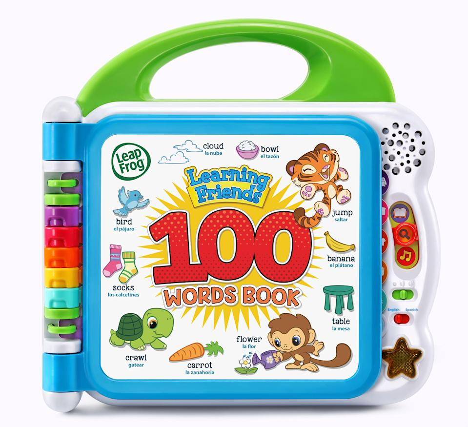 """<p><strong>LeapFrog</strong></p><p>walmart.com</p><p><strong>$15.99</strong></p><p><a href=""""https://go.redirectingat.com?id=74968X1596630&url=https%3A%2F%2Fwww.walmart.com%2Fip%2F863278465&sref=https%3A%2F%2Fwww.goodhousekeeping.com%2Fchildrens-products%2Ftoy-reviews%2Fg4695%2Fbest-kids-toys%2F"""" rel=""""nofollow noopener"""" target=""""_blank"""" data-ylk=""""slk:Shop Now"""" class=""""link rapid-noclick-resp"""">Shop Now</a></p><p>Parents have always relied on 100 words books to expand their toddler's vocabulary, and this version from LeapFrog takes things to the next level. The interactive pages <strong>say the words, make sound effects and offer fun facts</strong> in both English and Spanish. You can also get these tailored to specific areas of interest, like <a href=""""https://www.amazon.com/LeapFrog-80-609540-100-Animals-Book/dp/B085KTQKNC?tag=syn-yahoo-20&ascsubtag=%5Bartid%7C10055.g.4695%5Bsrc%7Cyahoo-us"""" rel=""""nofollow noopener"""" target=""""_blank"""" data-ylk=""""slk:100 Animals Book"""" class=""""link rapid-noclick-resp"""">100 Animals Book</a>, which was a <em>Good Housekeeping</em> 2020 Toy Award winner.</p>"""