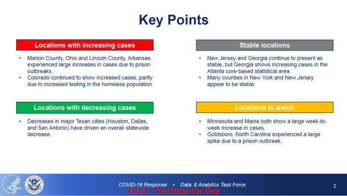 Key Points: Locations with increasing cases  Stable locations  Locations with decreasing cases  Locations to watch