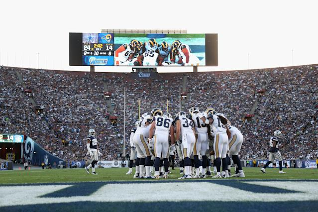 The Rams and Cowboys met at the L.A. Coliseum in 2016 in a preseason game. This weekend's meeting will have much more on the line as the winner advances to the NFC championship game. (Getty Images)