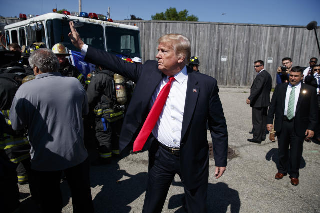 President Trump departs after Wednesday's discussion of MS-13 on Long Island. (Photo: Evan Vucci/Associated Press)