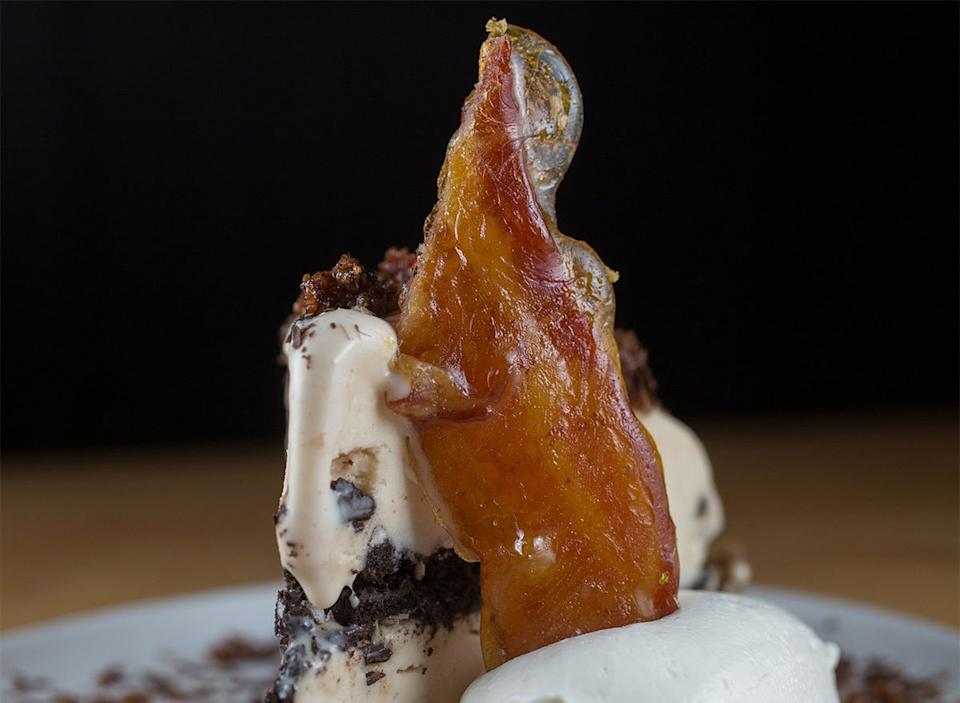 ice cream topped with bacon