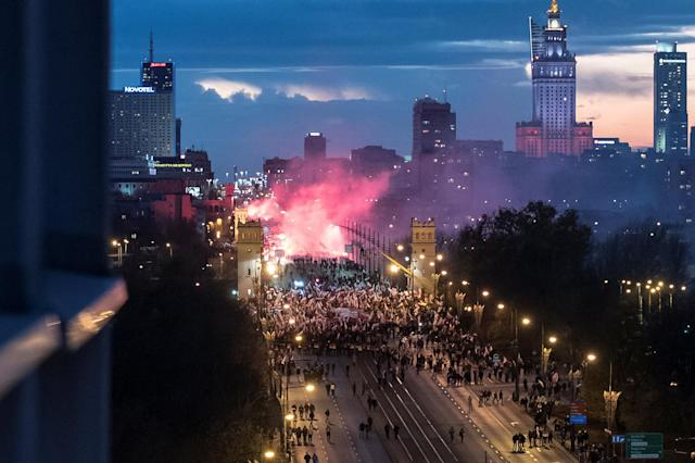 <p>Protesters march during a rally, organised by far-right, nationalist groups, to mark 99th anniversary of Polish independence in Warsaw, Poland, Nov. 11, 2017. (Photo: Agencja Gazeta/Franciszek Mazur via Reuters) </p>