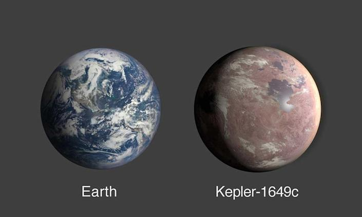 A comparison of Earth and Kepler-1649c, an exoplanet that's only 1.06 times Earth's radius.