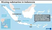 Map of Indonesia locating Bali, where a search is ongoing for a submarine that lost contact Wednesday