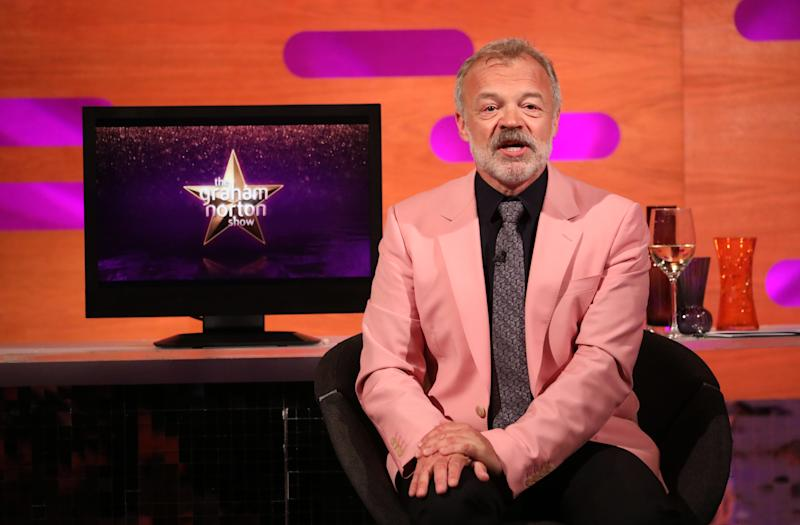Host Graham Norton during the filming for the Graham Norton Show at BBC Studioworks 6 Television Centre, Wood Lane, London, to be aired on BBC One on Friday evening.