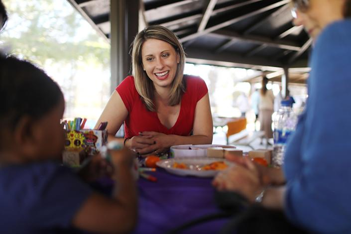 """<span class=""""s1"""">Katie Hill (CA-25) meets supporters at a campaign Halloween carnival on Oct. 21 in Lancaster, Calif. (Photo: Mario Tama/Getty Images)</span>"""