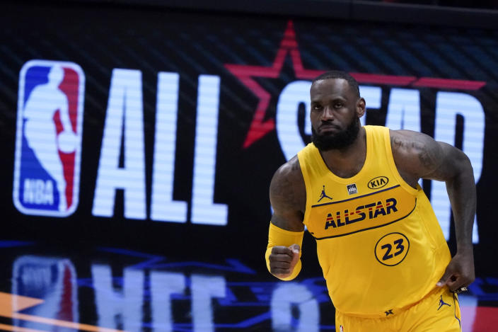 Golden State Warriors guard Stephen Curry plays during the first half of basketball's NBA All-Star Game in Atlanta, Sunday, March 7, 2021. (AP Photo/Brynn Anderson)