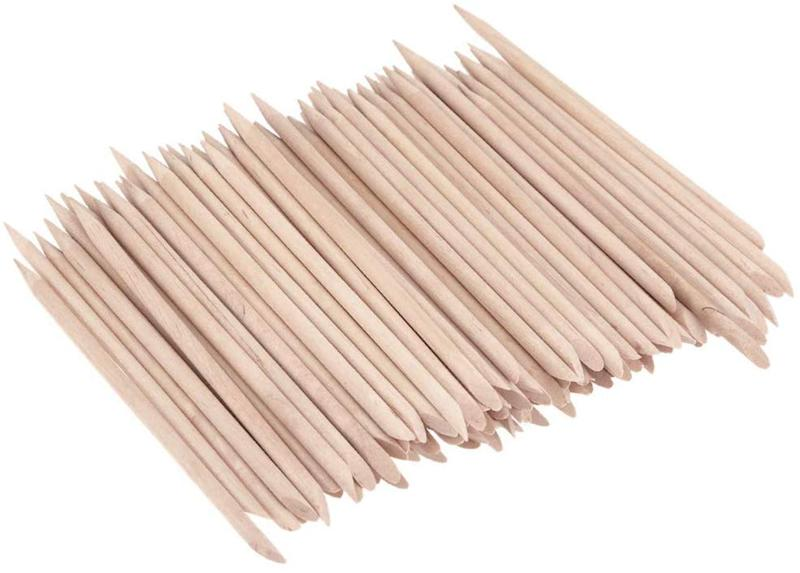 KINGMAS 100 Pcs Nail Art Orangewood Stick Cuticle Pusher