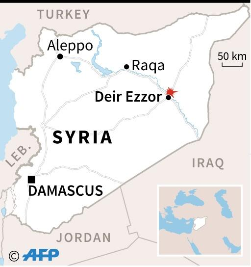 Map locating city of Deir Ezzor where clashes occurred between regime forces and those of the US-back alliance