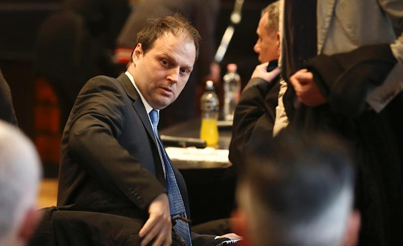Hungarian CEO of MAL (Hungarian Aluminium Company), Zoltan Bakonyi is pictured prior to hearing the sentences in the 2010 chemical accident trial on January 28, 2016 at Veszprem Court (AFP Photo/Ferenc Isza)