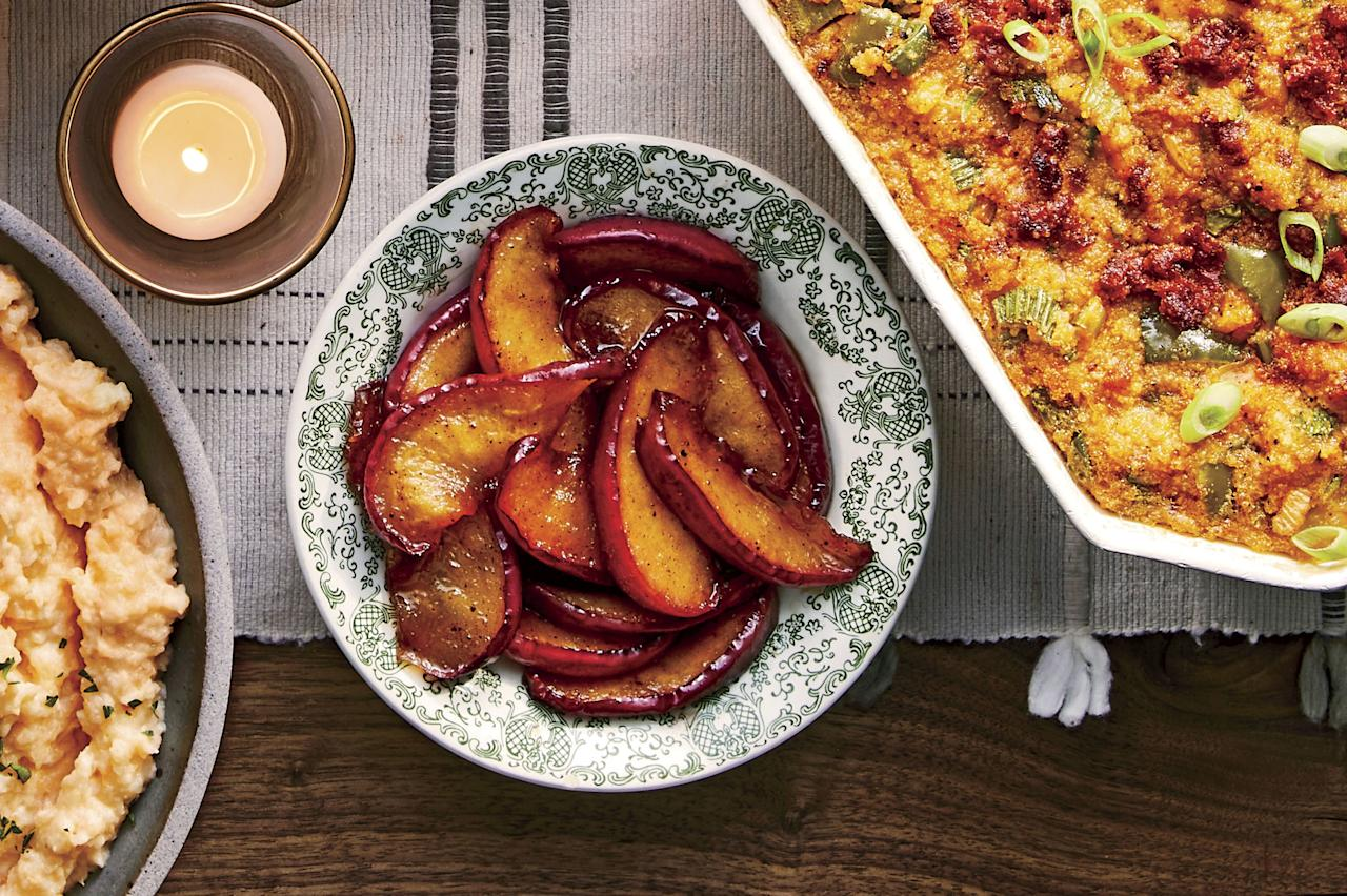 "<p><strong>Recipe: <a href=""https://www.southernliving.com/recipes/fried-arkansas-black-apples"">Fried Arkansas Black Apples</a></strong></p> <p>Fried apples add a sweet presence to the Thanksgiving table, where cranberry sauce sometimes carries the fruit flag all alone. The state's namesake apple, the <a href=""https://www.southernliving.com/news/what-is-the-arkansas-black-apple"">Arkansas Black</a>, dates back to 1870, when a Benton County farmer encountered an impressive seedling in his orchard. A descendant of the Winesap, it earned national acclaim through the 1920s for its beautiful color, tart flavor, round shape, and extraordinary keeping qualities.</p> <p>With refrigeration making root cellars obsolete, the Arkansas Black's national star dimmed, but it has remained a treasure in its home state. Elizabeth and John Aselage of <a href=""https://aandaorchard.com/"">A & A Orchard</a> in Green Forest grow 50 different types of apples, taking them to grateful customers at farmers' markets in Fayetteville, Eureka Springs, and Bentonville.</p> <p>Even after 40 years in the apple-growing business, they are partial to the Arkansas Black. ""It's the last apple we pick each October, and it's gorgeous—that deep, dark red color close to black,"" says John. ""It's tart and dense, becoming sweeter and a bit softer over time.""</p> <p>Modern fried apple recipes tend to call for ""firm and tart"" types, specifically Granny Smiths. But old-timers fried up what they had on hand—from their own trees, a neighbor's orchard, or the store. If Arkansas Black apples are available in your area, this recipe is a great way to enjoy them. Or you can use a firm red apple, such as Red Delicious or Honeycrisp.</p> <p>Since the process of frying them and the addition of brown sugar enhances any apple's flavor, look for smaller ones, which are prettier when sliced. Those cranberries needn't claim all the visual glory on the holiday table.</p>"
