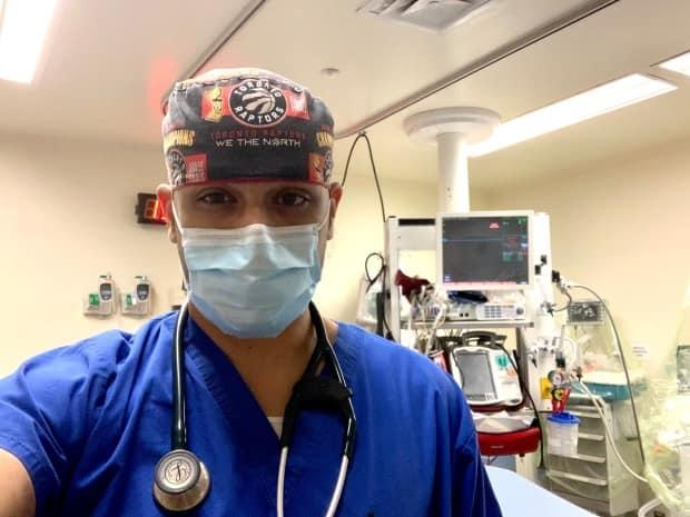 Dr. Shajan Ahmed says most of his colleagues had never done any kind of triage training before. He was part of a group of physicians at UHN who participated in mock scenarios during the second wave. (Submitted/Shajan Ahmed - image credit)
