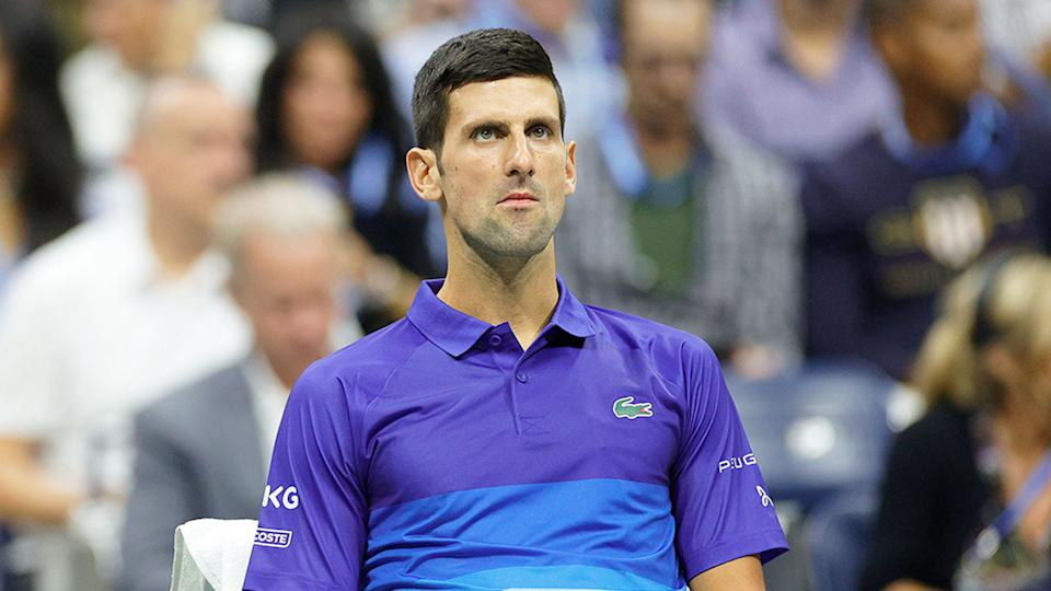 Novak Djokovic looks on in frustration after losing the first set of his US Open semi-final. Pic: Getty