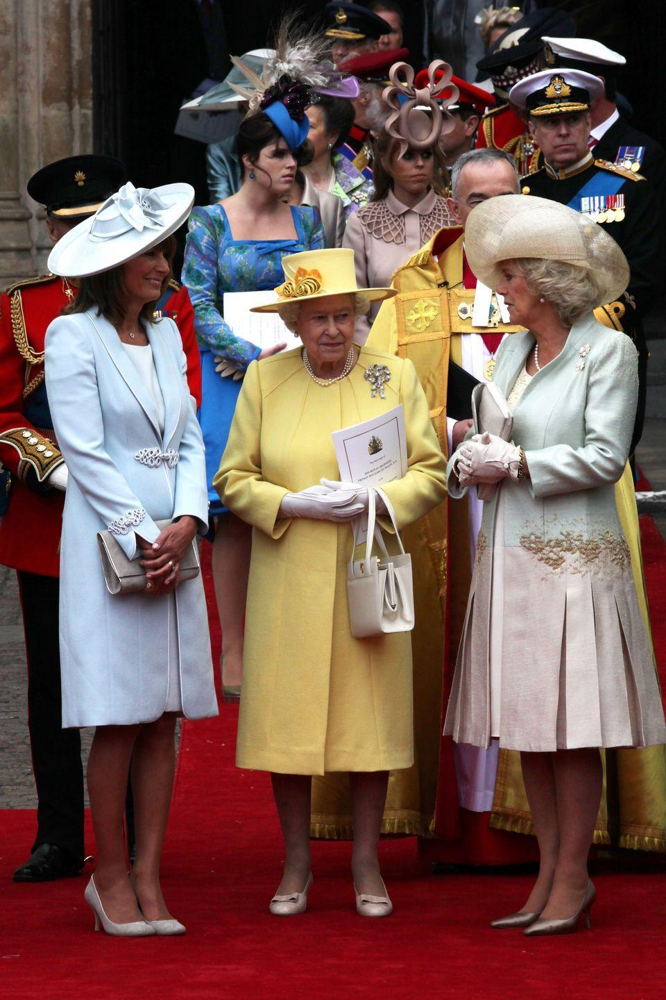 <p>The three women were photographed standing together outside Westminster Abbey before heading to Buckingham Palace for the reception in their respective carriages.</p>