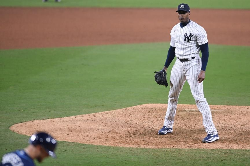 Aroldis Chapman stares down Michael Brousseau after Game 4 ALDS win over Rays