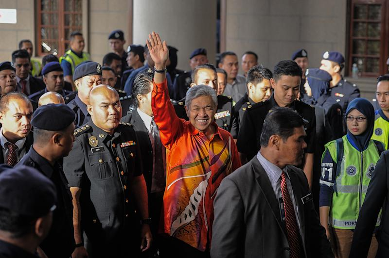 Prosecutors presented Datuk Seri Ahmad Zahid Hamidi with 45 charges related to money laundering and criminal breach of trust today. — Picture by Shafwan Zaidon