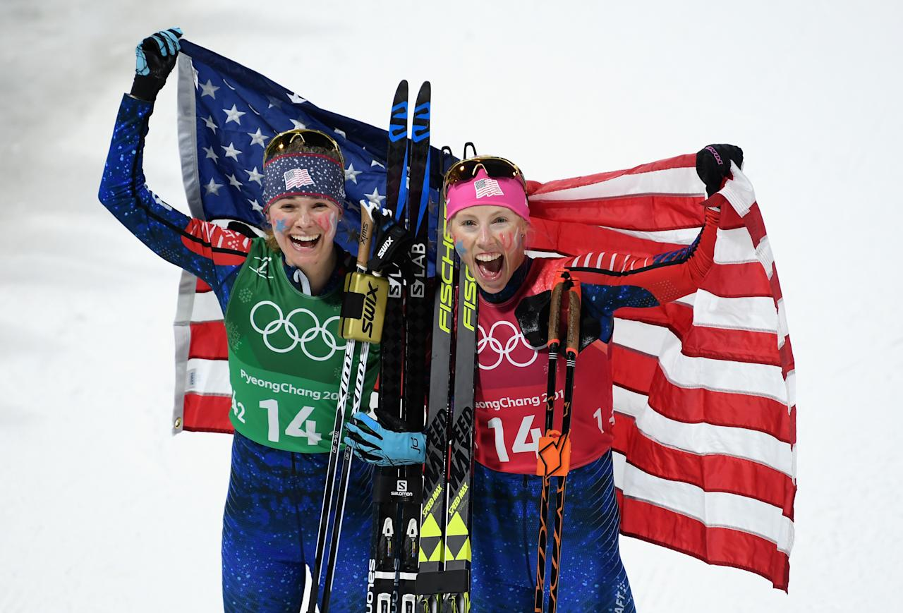 <p>Jessica Diggins of the United States (L) and Kikkan Randall of the United States celebrate as they win gold during the Cross Country Ladies' Team Sprint Free Final on day 12 of the PyeongChang 2018 Winter Olympic Games at Alpensia Cross-Country Centre on February 21, 2018 in Pyeongchang-gun, South Korea. (Photo by Matthias Hangst/Getty Images) </p>