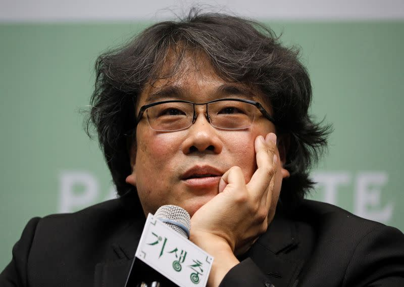 Director of four Oscar award-winning film 'Parasite' Bong Joon-ho answers a reporters' question during a news conference in Seoul