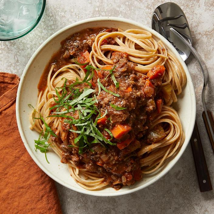 <p>This Bolognese sauce recipe is adapted from Marcella Hazan's Essentials of Classic Italian Cooking. We swap out the beef and pork for button mushrooms to keep this traditional comfort food vegan yet weighty with umami flavor. And while some recipes call for red wine, this recipe sticks with Hazan's white wine selection.</p>