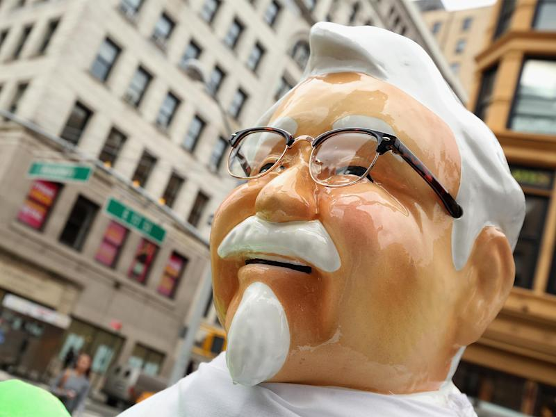A Colonel Sanders statue is on permanent display in New York's Union Square: Getty Images For Turner