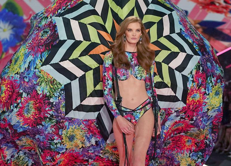 British model Alexina Graham walks the runway at the 2018 Victoria's Secret Fashion Show on November 8, 2018 at Pier 94 in New York City. - Every year, the Victoria's Secret show brings its famous models together for what is consistently a glittery catwalk extravaganza. It's the most-watched fashion event of the year (800 million tune in annually) with around 12 million USD spent on putting the spectacle together according to Harper's Bazaar. (Photo by TIMOTHY A. CLARY / AFP) (Photo credit should read TIMOTHY A. CLARY/AFP via Getty Images)