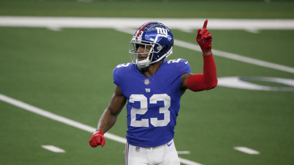 New York Giants cornerback Logan Ryan (23) defends against the Dallas Cowboys during the first half of an NFL Football game in Arlington, Texas, Sunday, Oct. 11, 2020. (AP Photo/Michael Ainsworth)